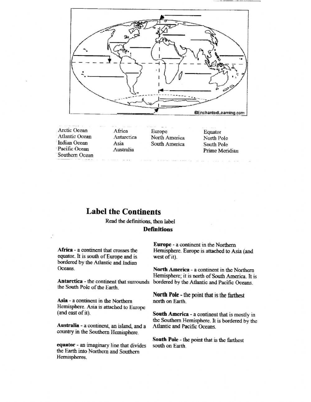 Label Continents and Oceans Worksheets Label the Continents & Oceans Interactive Worksheet