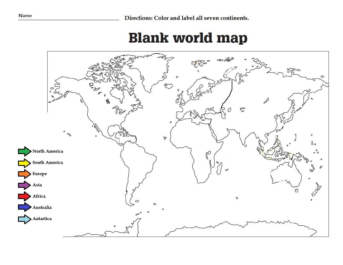 Label Continents and Oceans Worksheets Label the the Continents and Color them Great Worksheet for