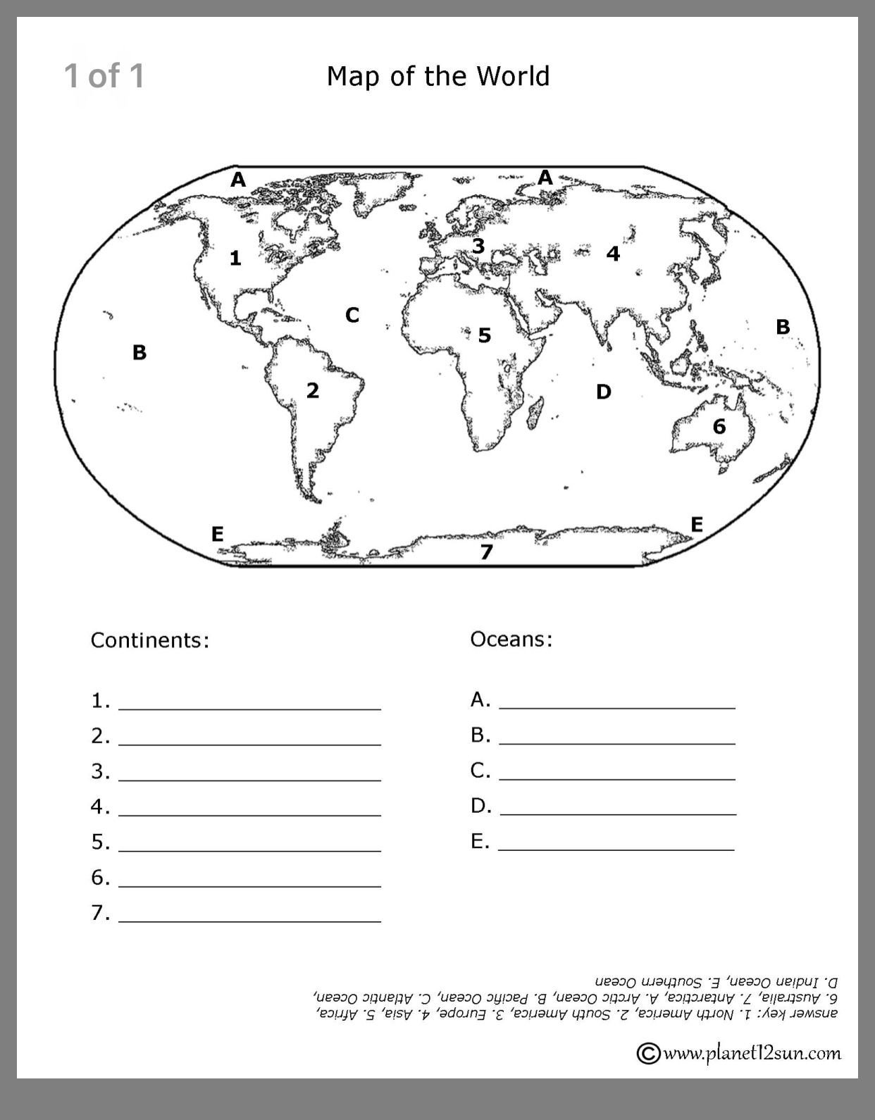 Label Continents and Oceans Worksheets Pin by Dawn Tran On Geography for Ava with Images