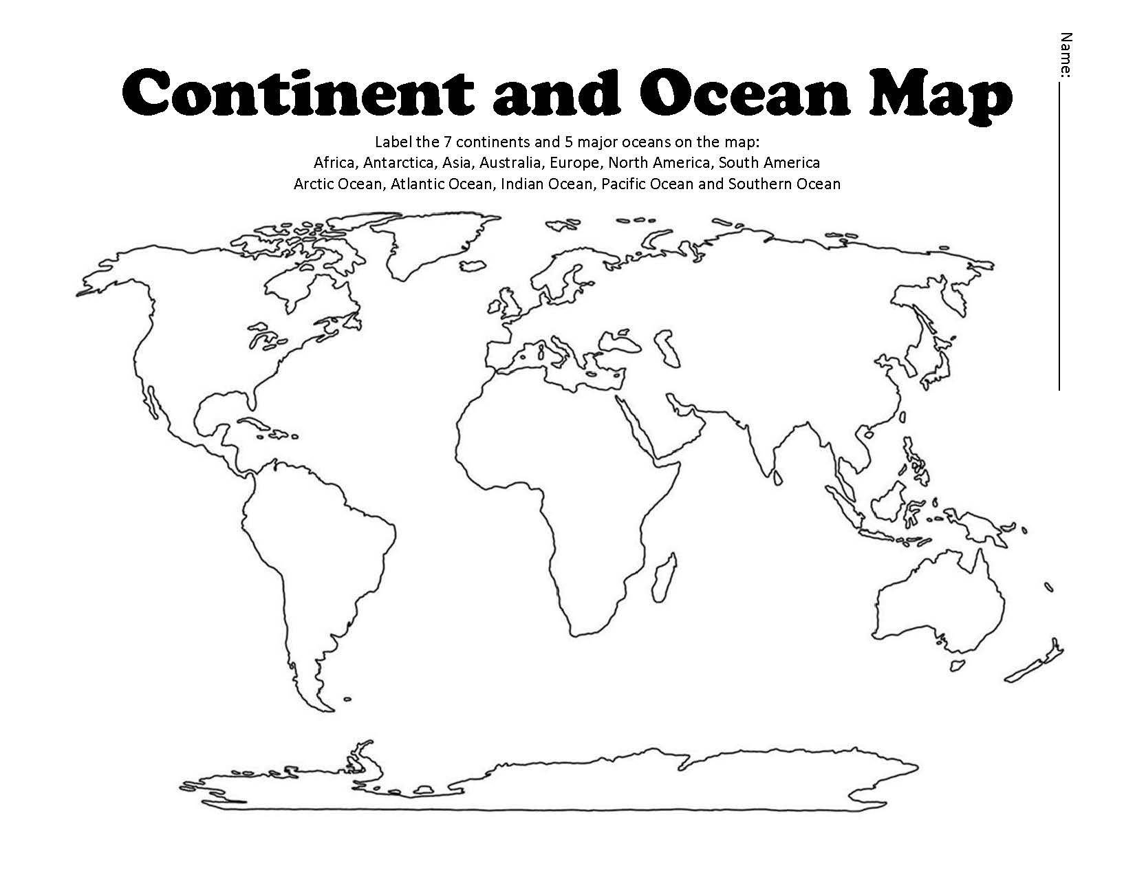 Label Continents and Oceans Worksheets Product Preview
