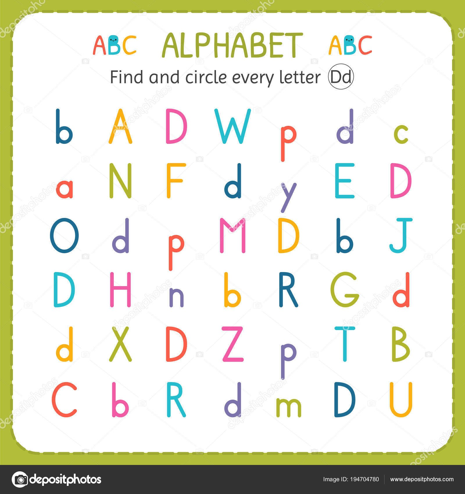 Letter D Worksheet Preschool Find and Circle Every Letter D Worksheet for Kindergarten and Preschool Exercises for Children