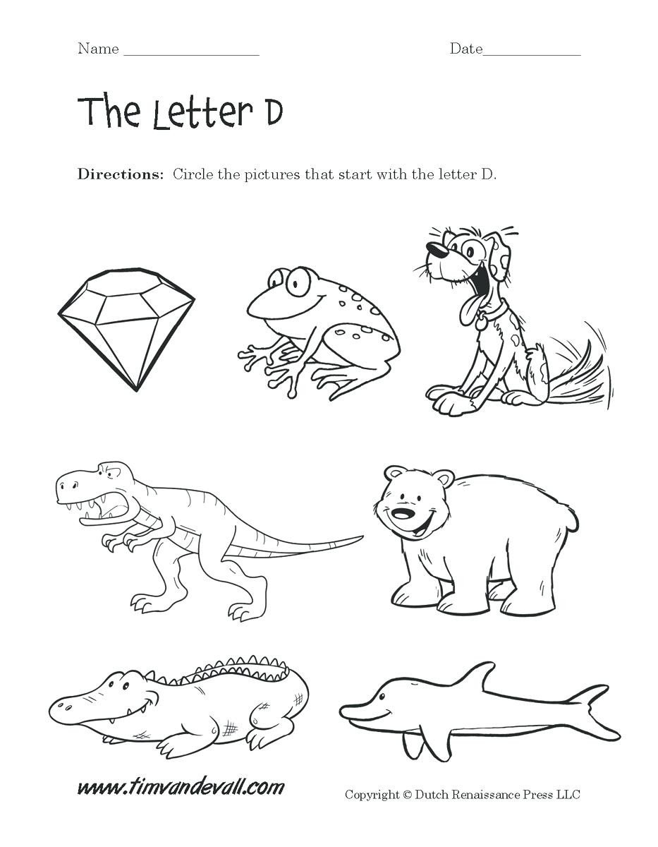 Letter D Worksheet Preschool Letter Find Worksheets for Preschoolers – Mojaordinacija