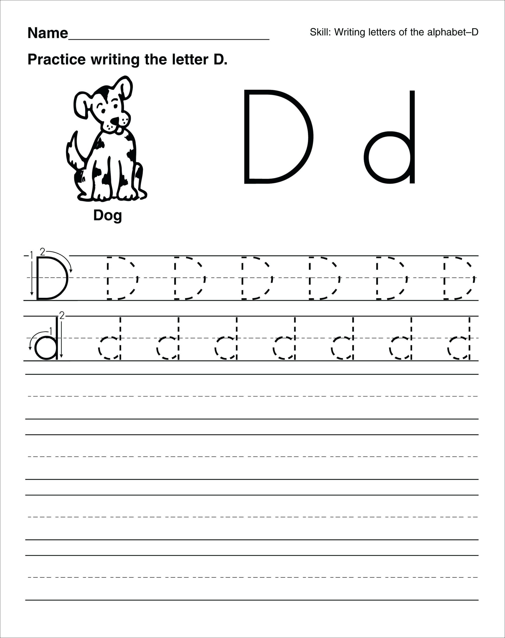 Letter D Worksheet Preschool Worksheet 1st Grade Writing Prompts Free Match Three Games