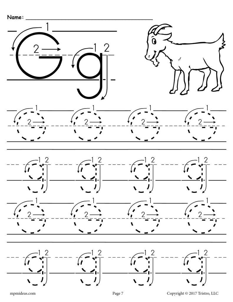 Printable Letter G Tracing Worksheet With Number and Arrow Guides