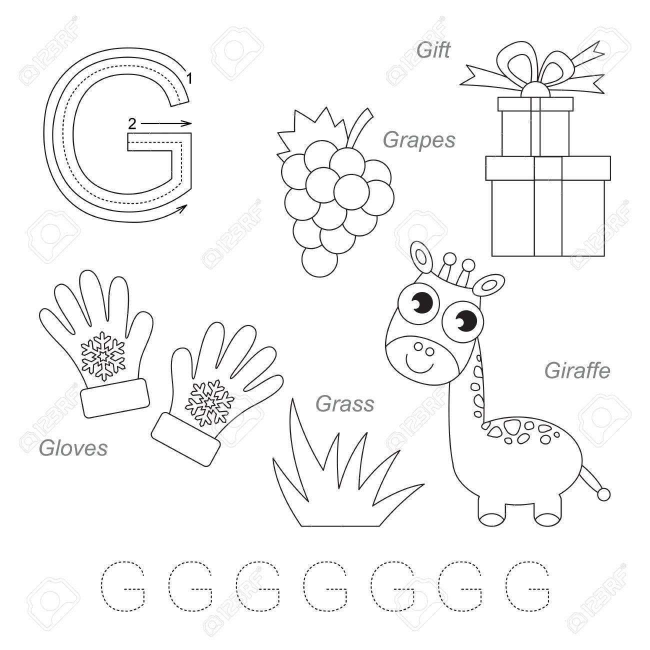 photo stock vector tracing worksheet for children full english alphabet from a to z pictures for letter g the colorless
