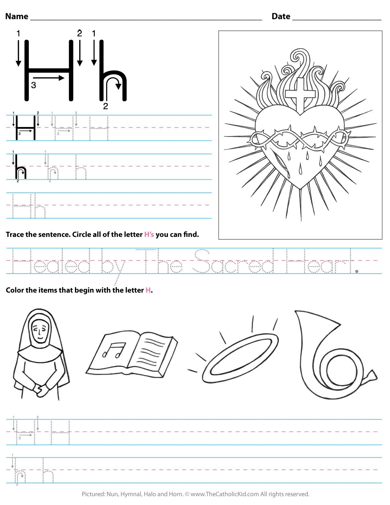 Letter H Traceable Worksheets Catholic Alphabet Letter H Worksheet Preschool Kindergarten