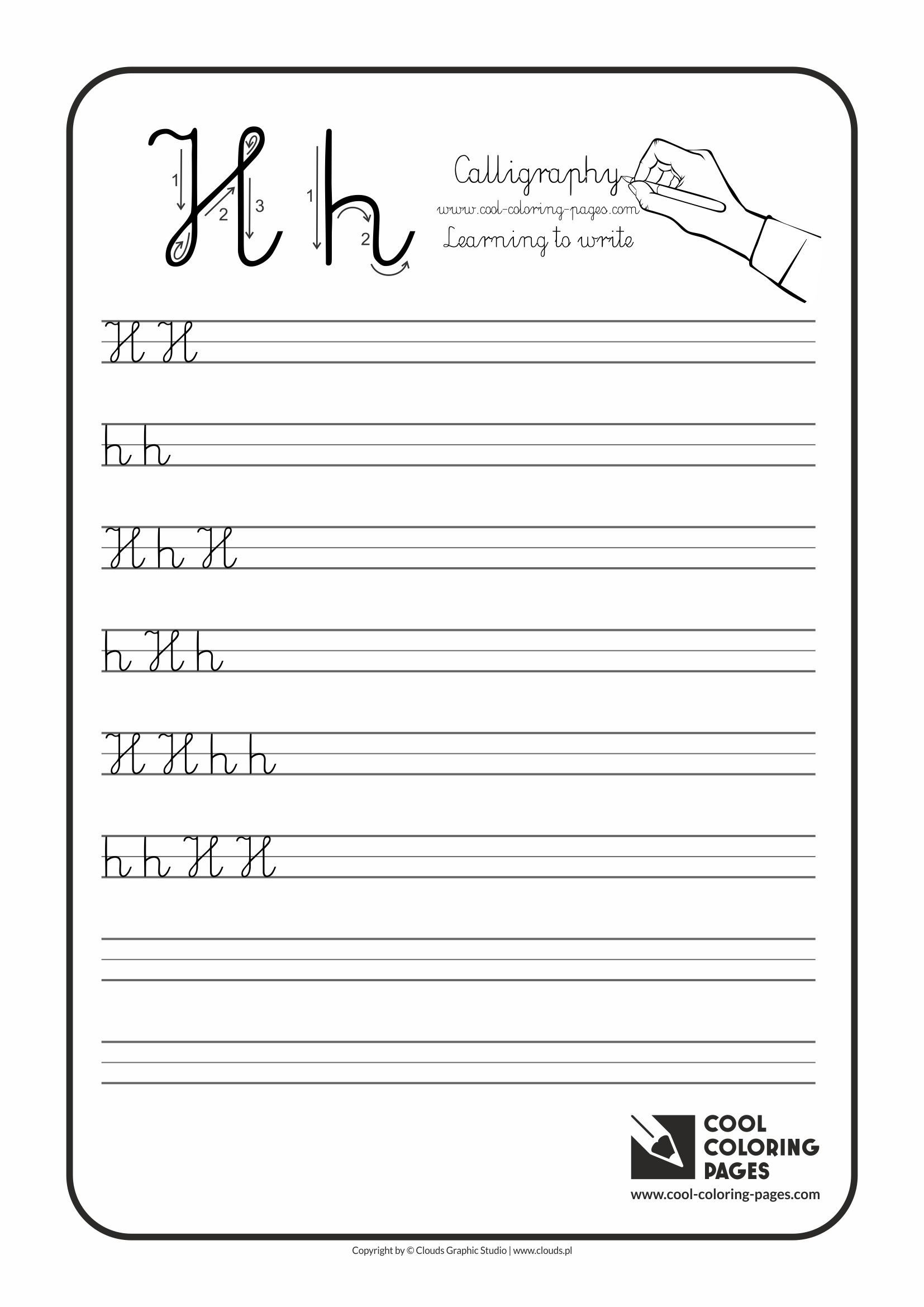 Letter H Traceable Worksheets Cool Coloring Pages Letter H Calligraphy for Kids Cool