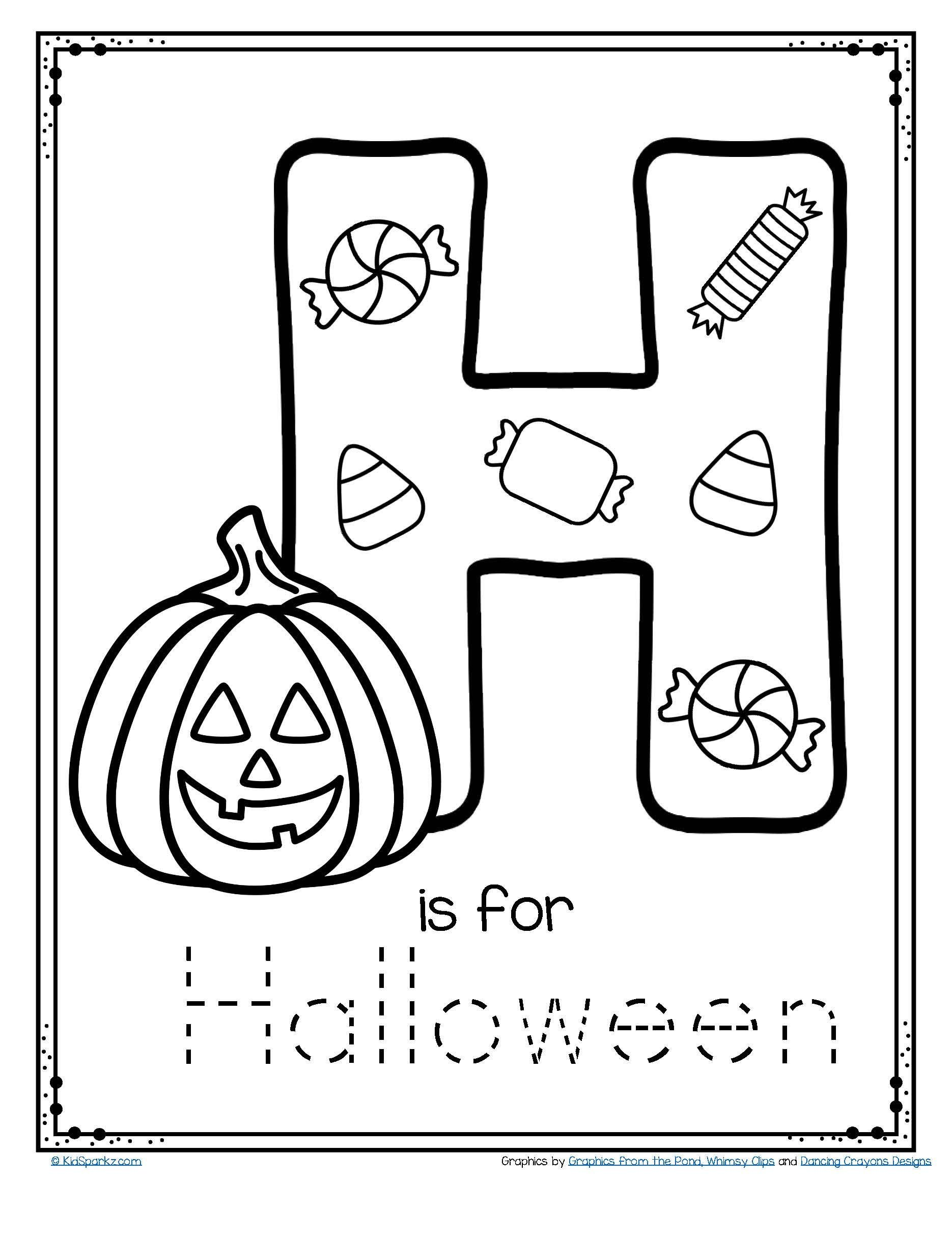 Letter H Traceable Worksheets Letter H is for Halloween Trace and Color Printable Free