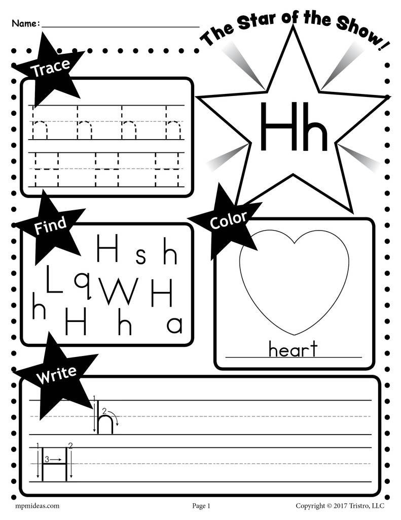 Letter H Traceable Worksheets Letter H Worksheet Tracing Coloring Writing & More