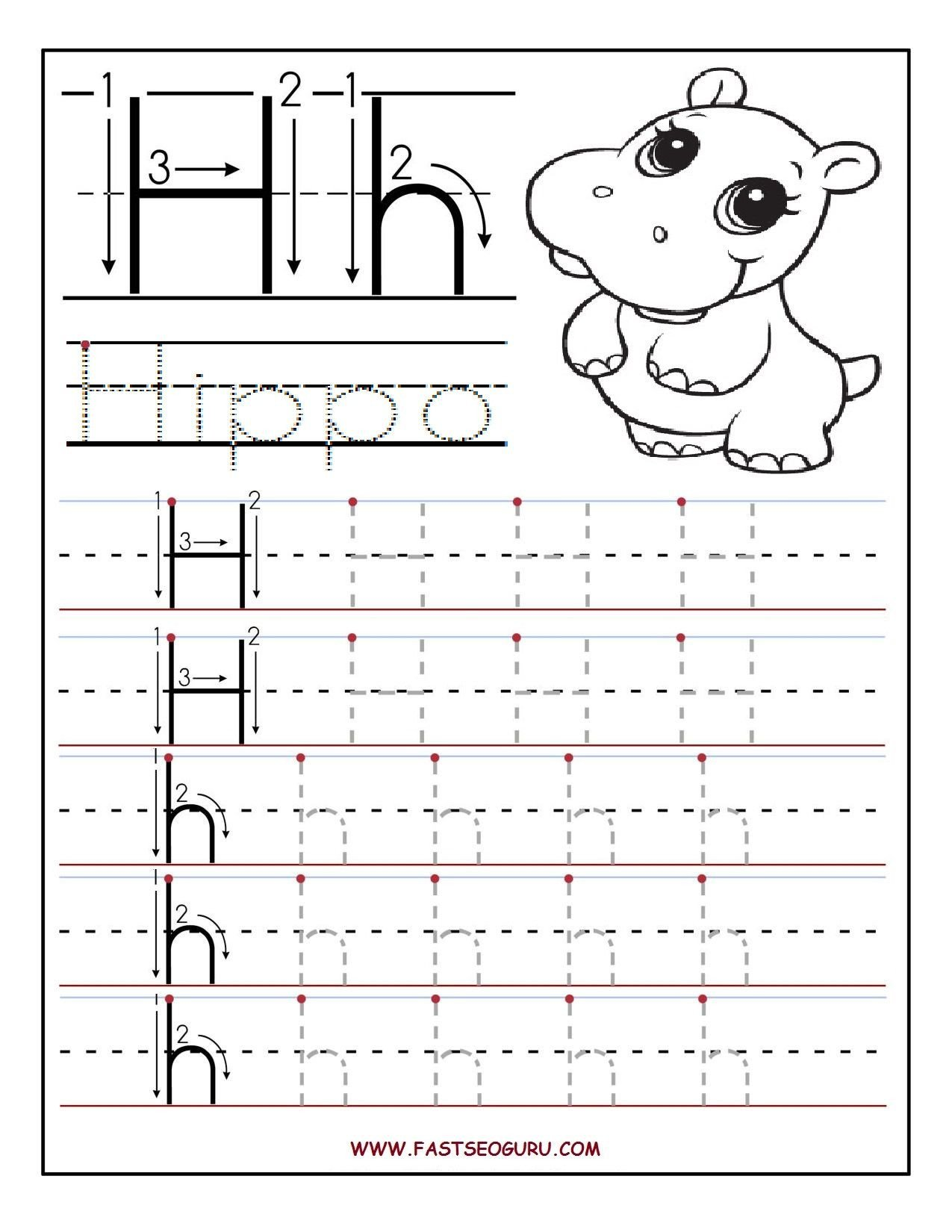 Letter H Traceable Worksheets Pin by Kassandra Castellon On Letter H Pre K
