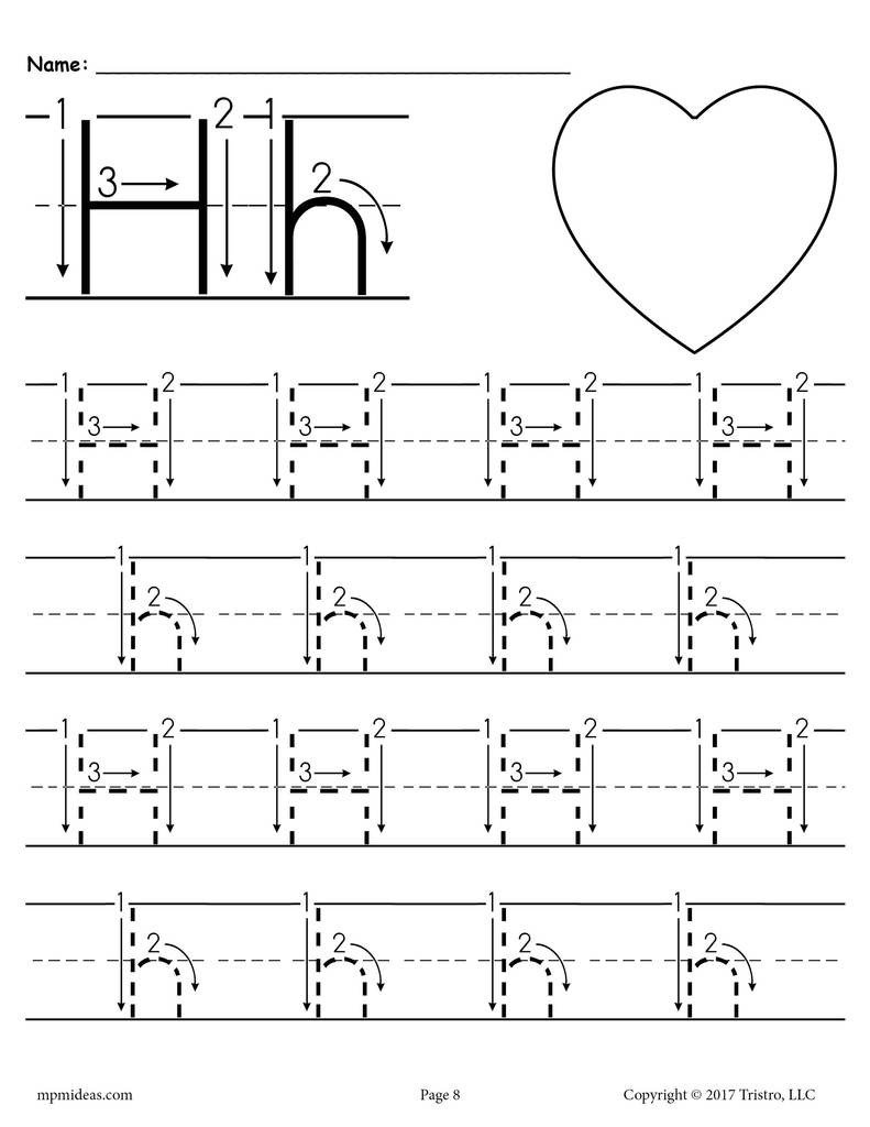 Letter H Traceable Worksheets Printable Letter H Tracing Worksheet with Number and Arrow Guides