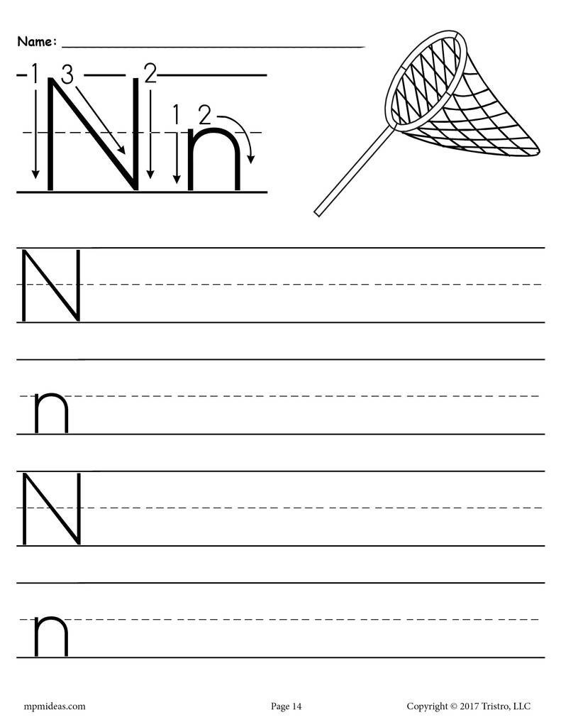 Letter H Traceable Worksheets Printable Letter N Handwriting Worksheet