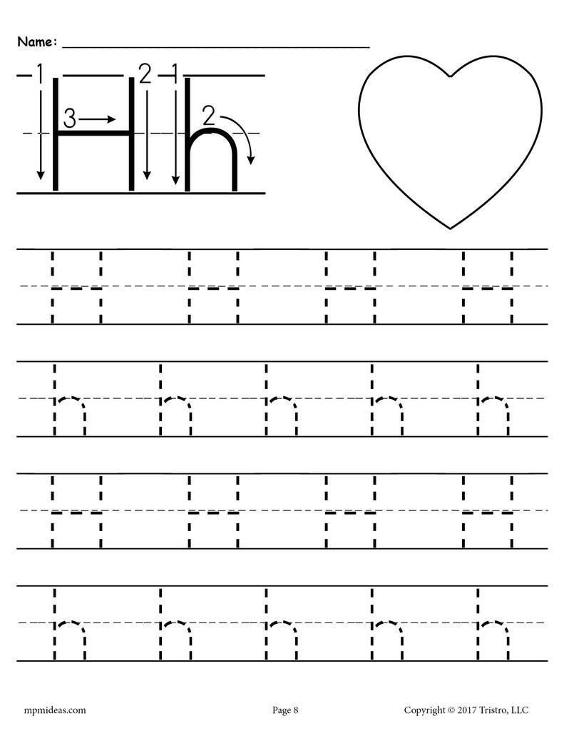 Letter H Tracing Worksheets Preschool Printable Letter H Tracing Worksheet