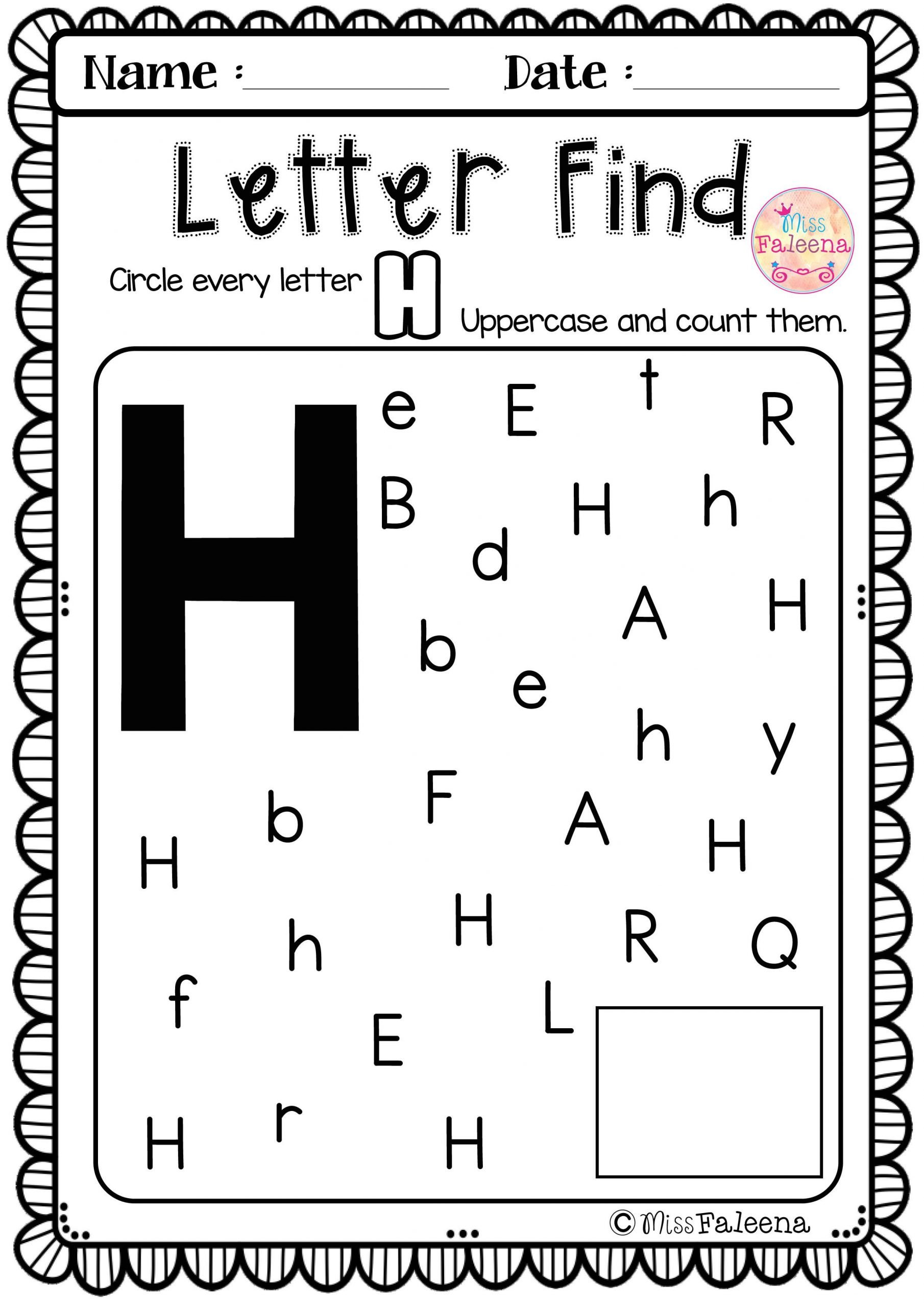 Letter H Worksheets for Preschoolers Alphabet Letter Of the Week H