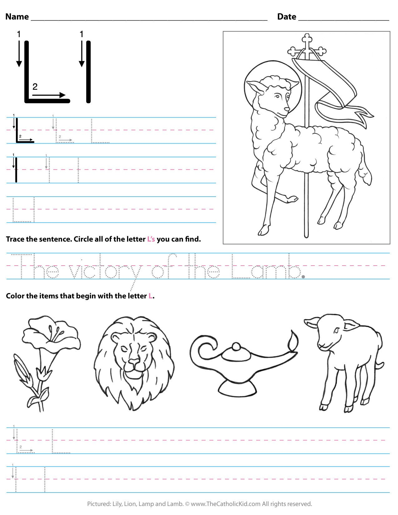 catholic alphabet letter l worksheet preschool kindergarten cnt mls
