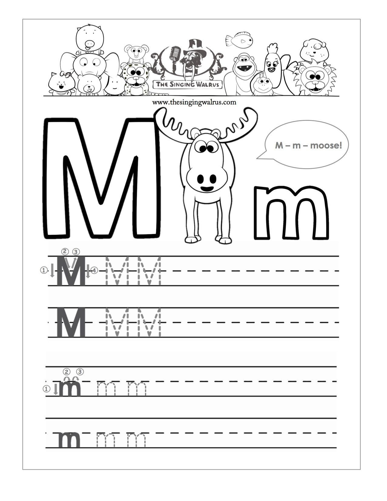 letter m writing worksheet kindergarten worksheets for letter m kindergarten a z