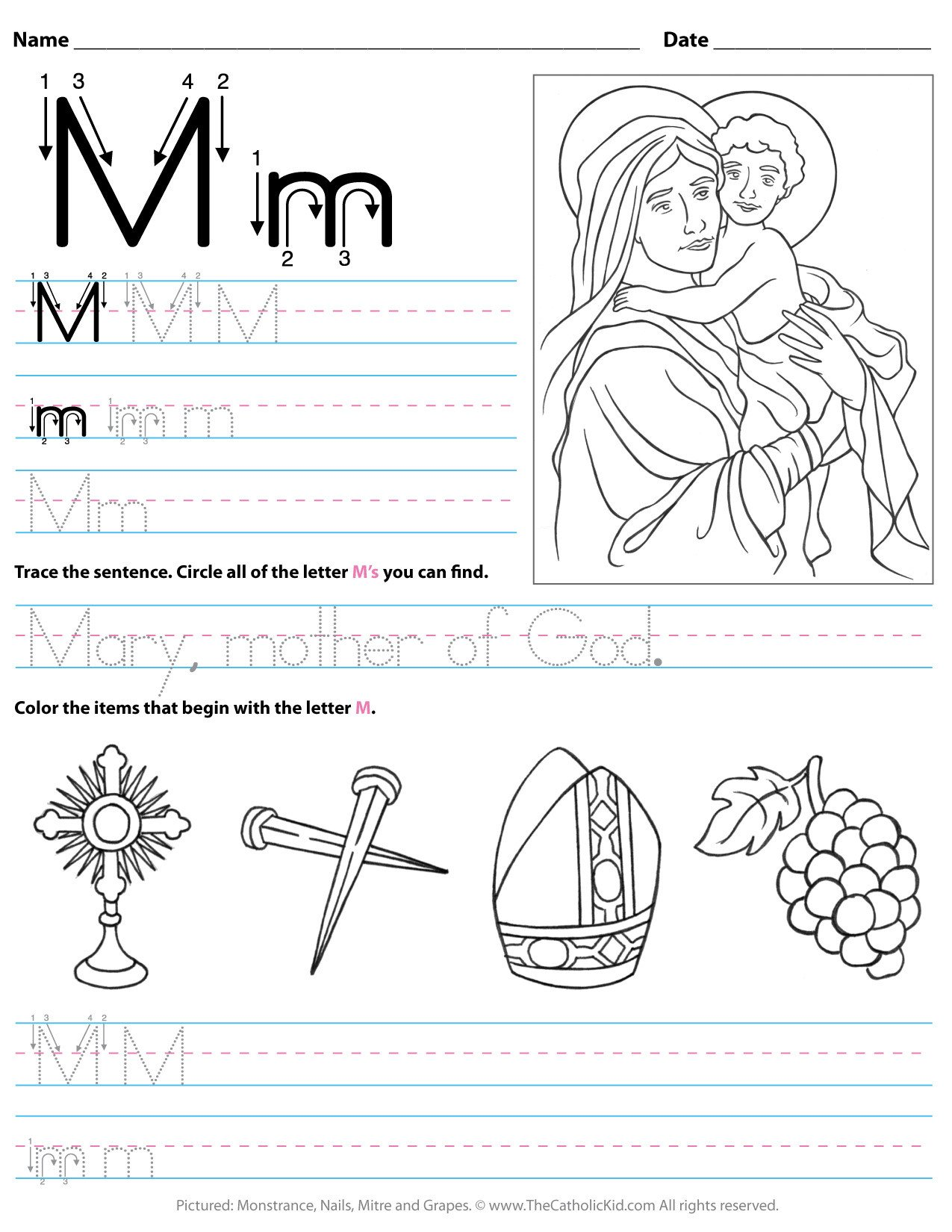 catholic alphabet letter m worksheet preschool kindergarten cnt mls