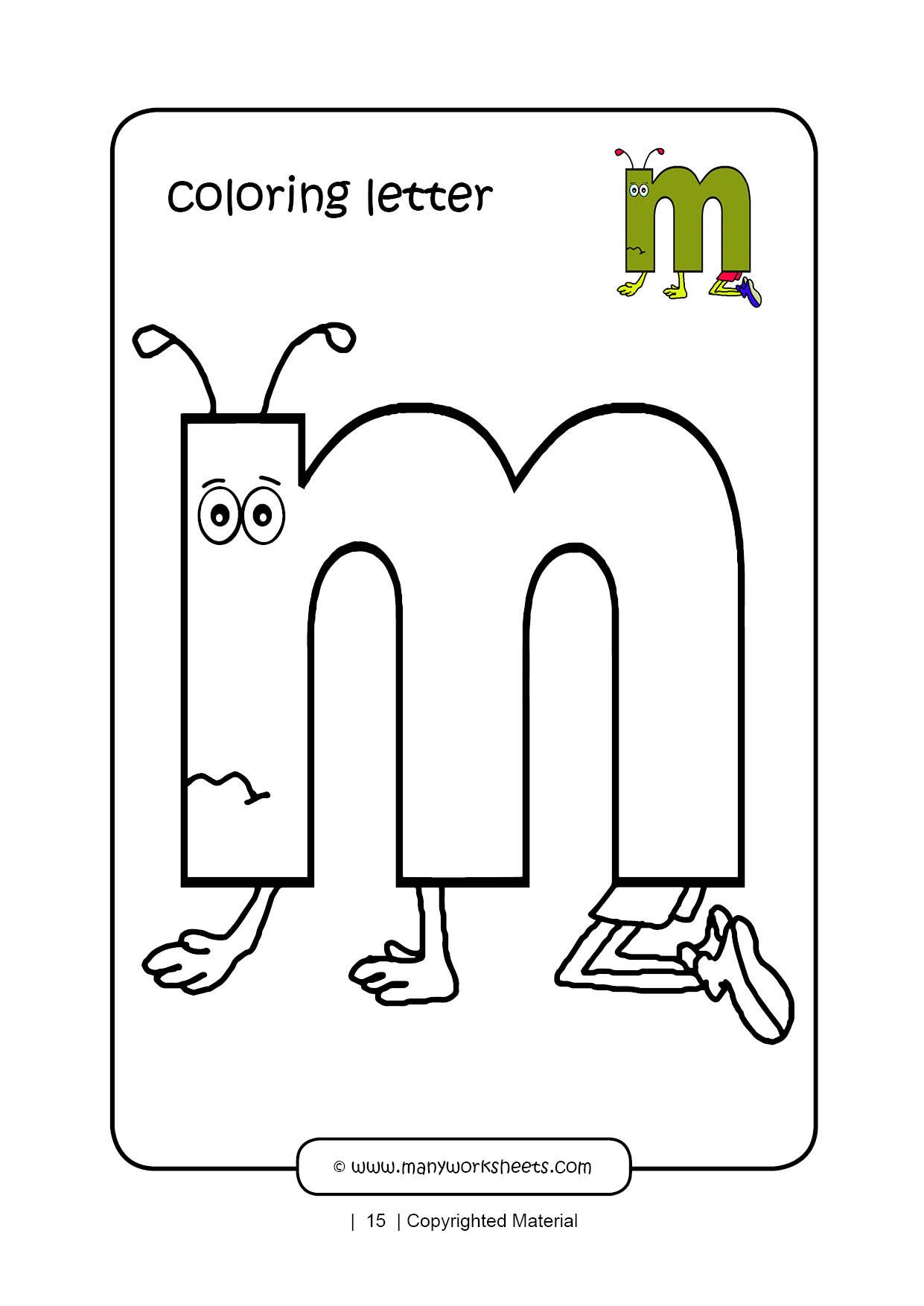 coloring lowercase letter m
