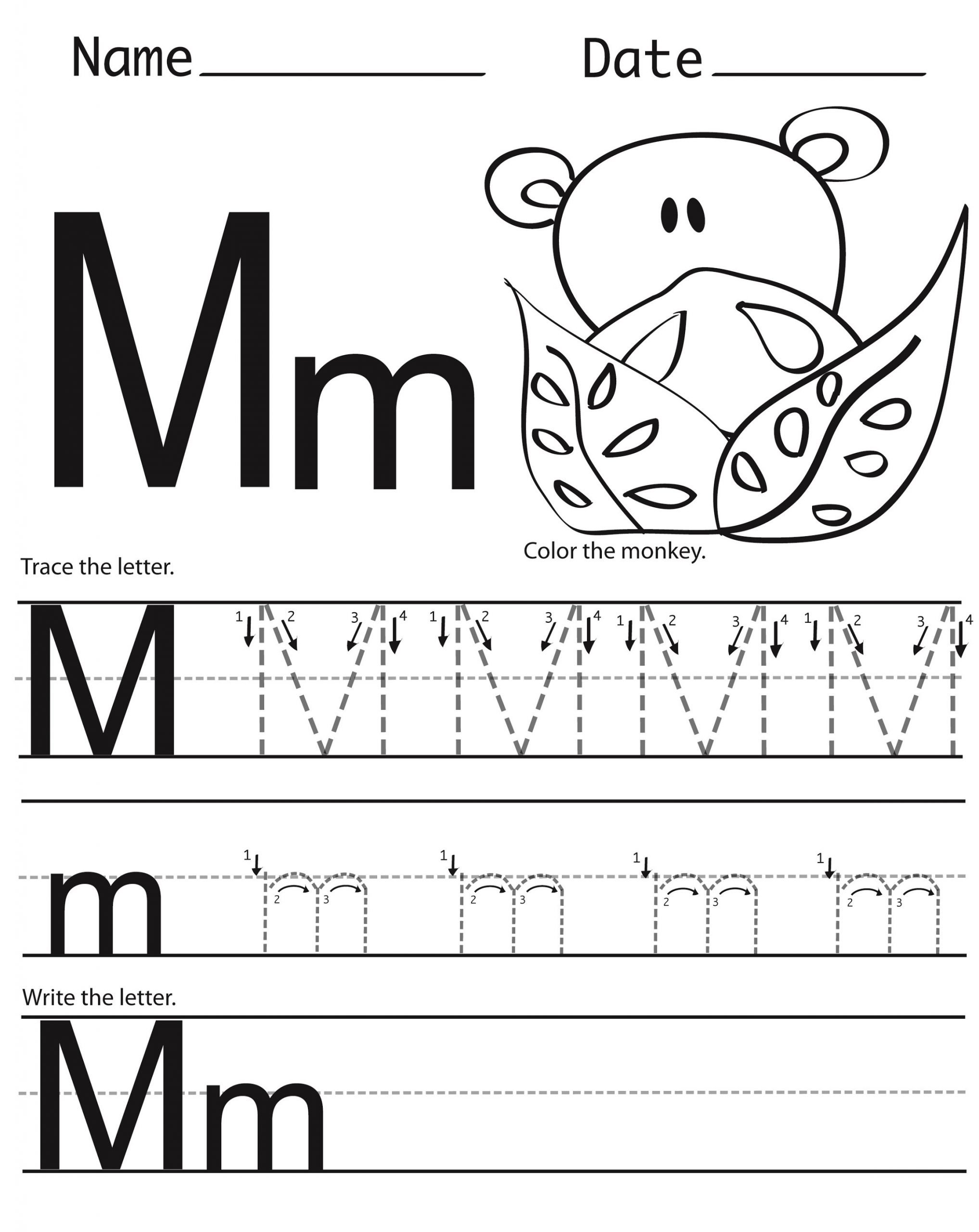 letter m worksheets for tracing