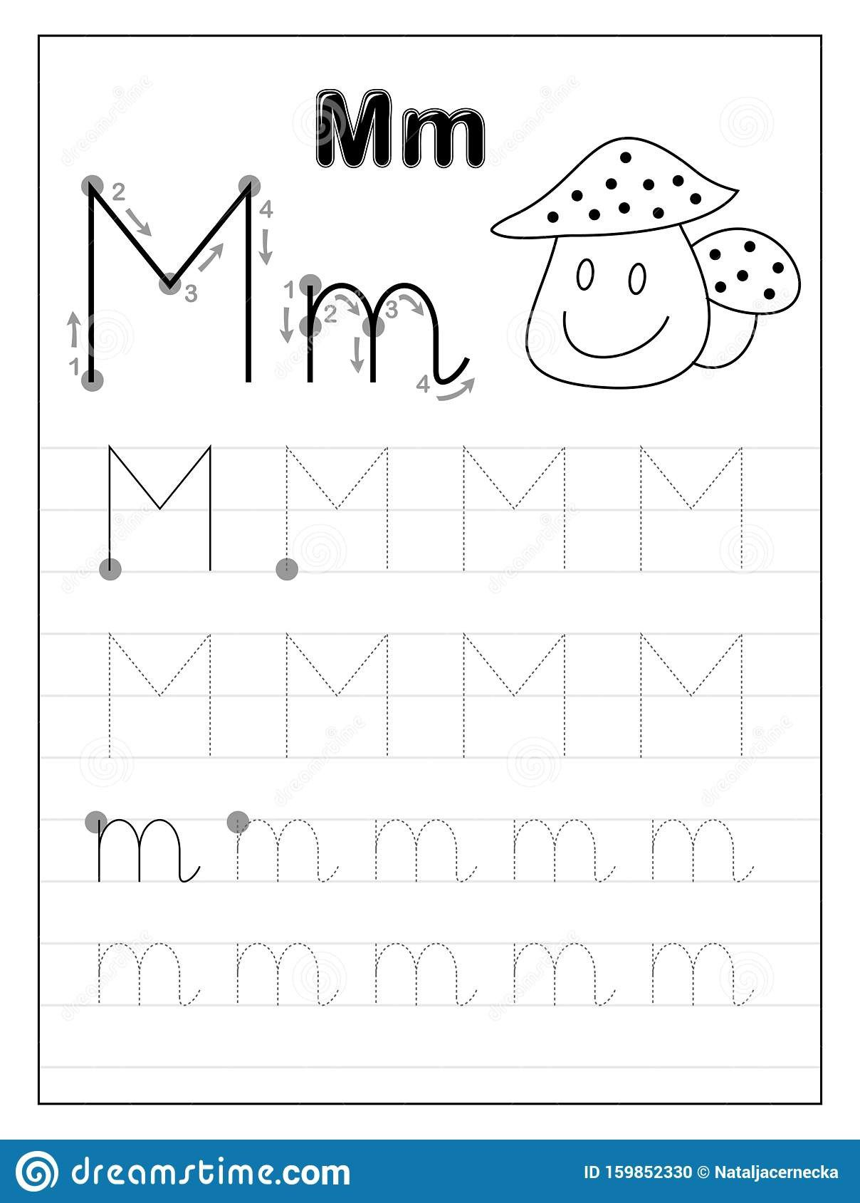 tracing alphabet letter m black white educational pages line kids printable worksheet children textbook developing