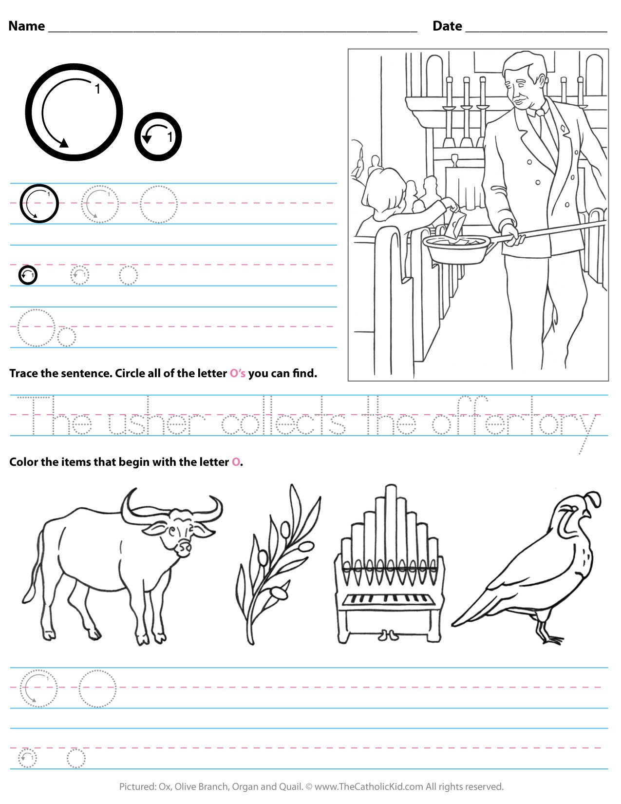 catholic alphabet letter o worksheet preschool kindergarten cnt mls
