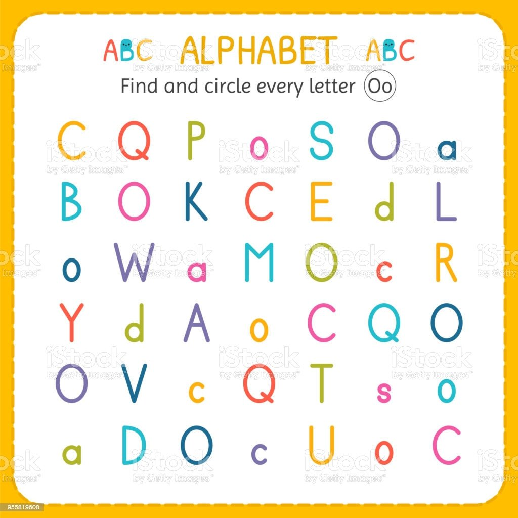 find and circle every letter o worksheet for kindergarten and preschool exercises gm