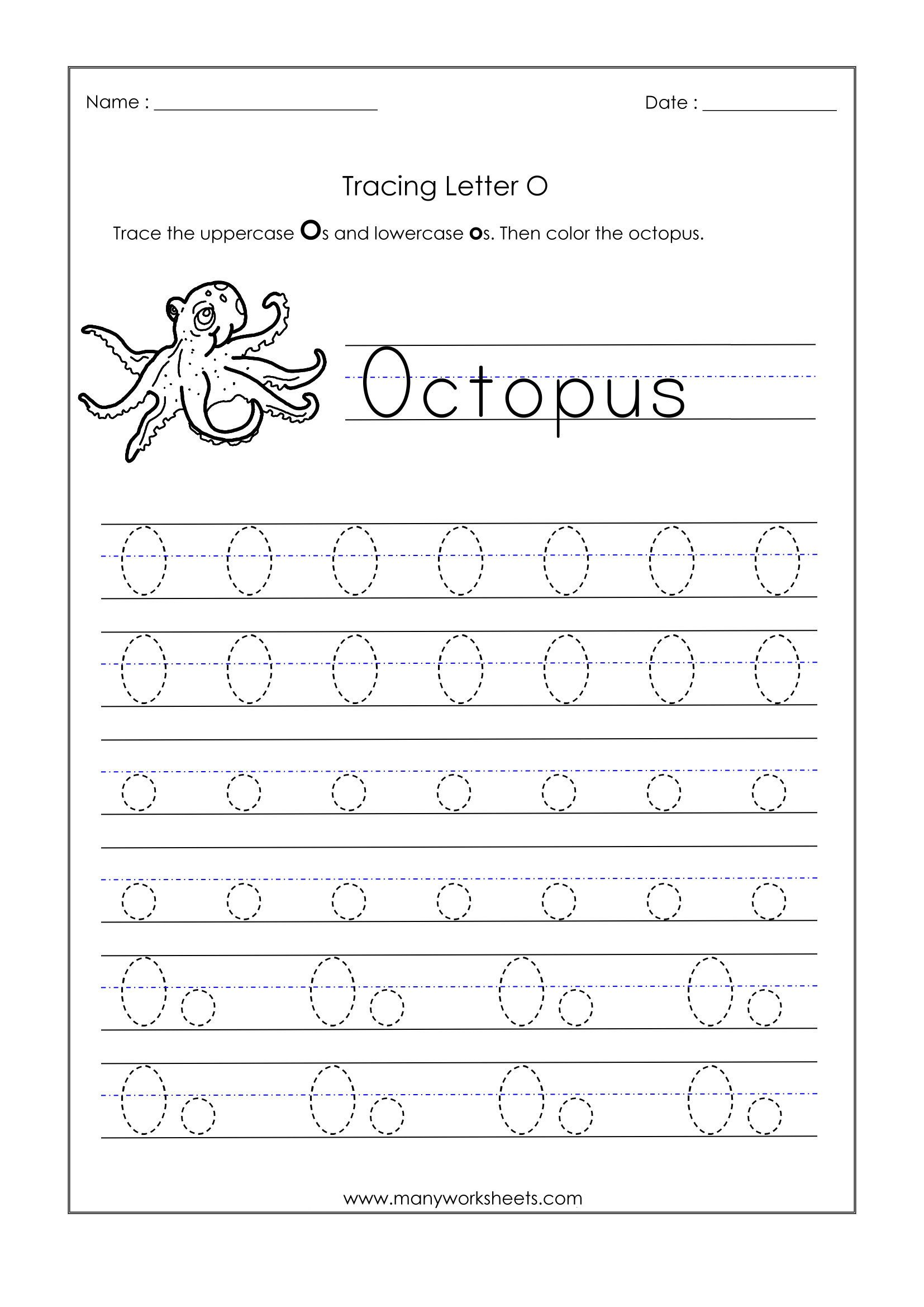 letter o tracing worksheet
