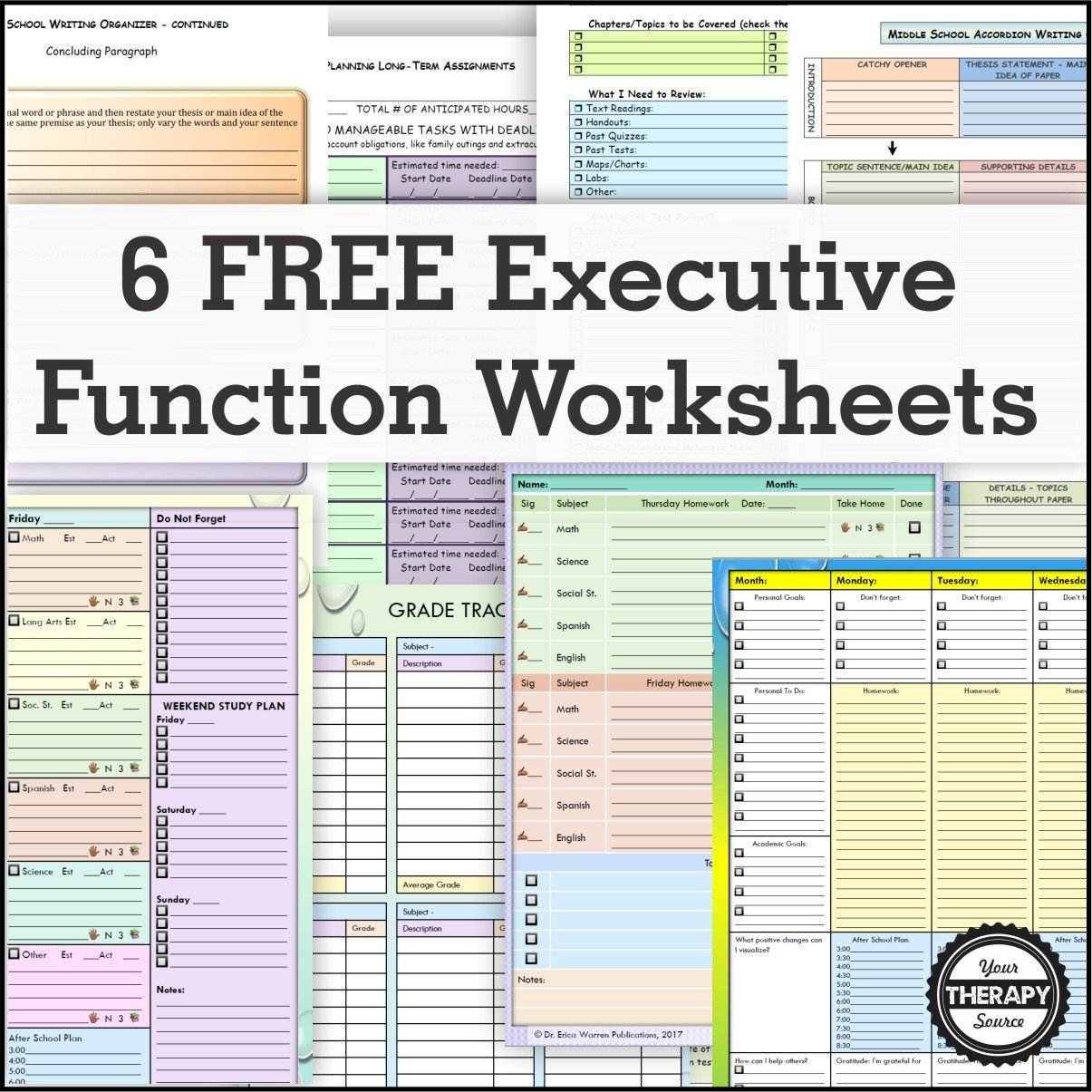 6 Free Executive Function Activity Worksheets