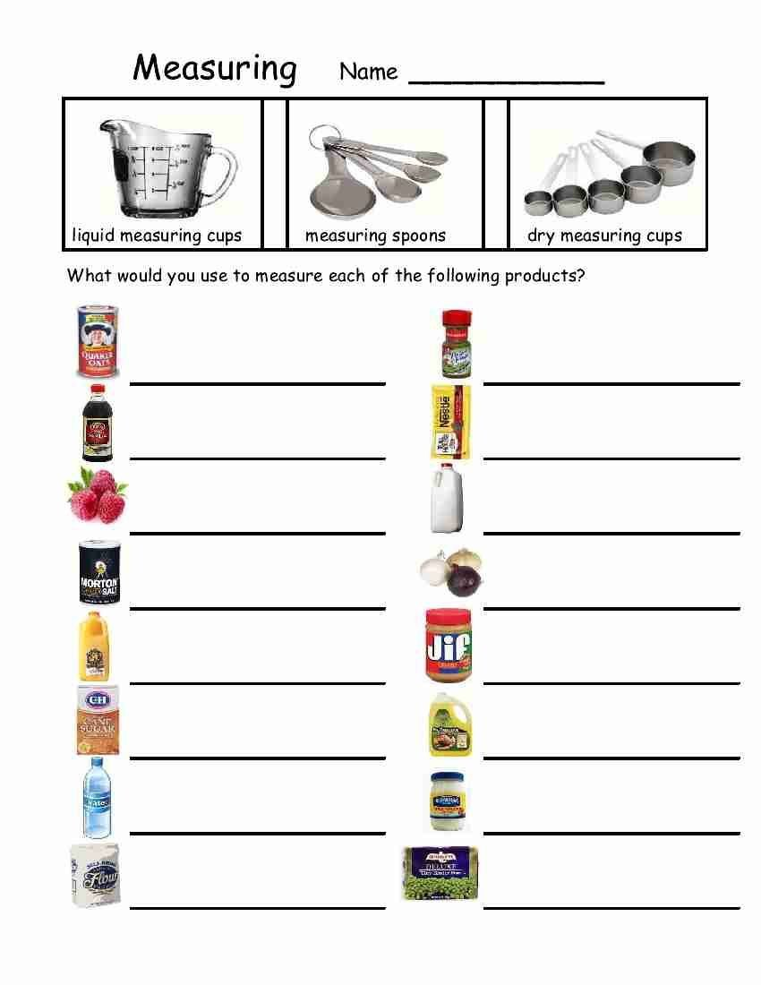 Life Skills Worksheets Free Empowered by them Measuring Devices