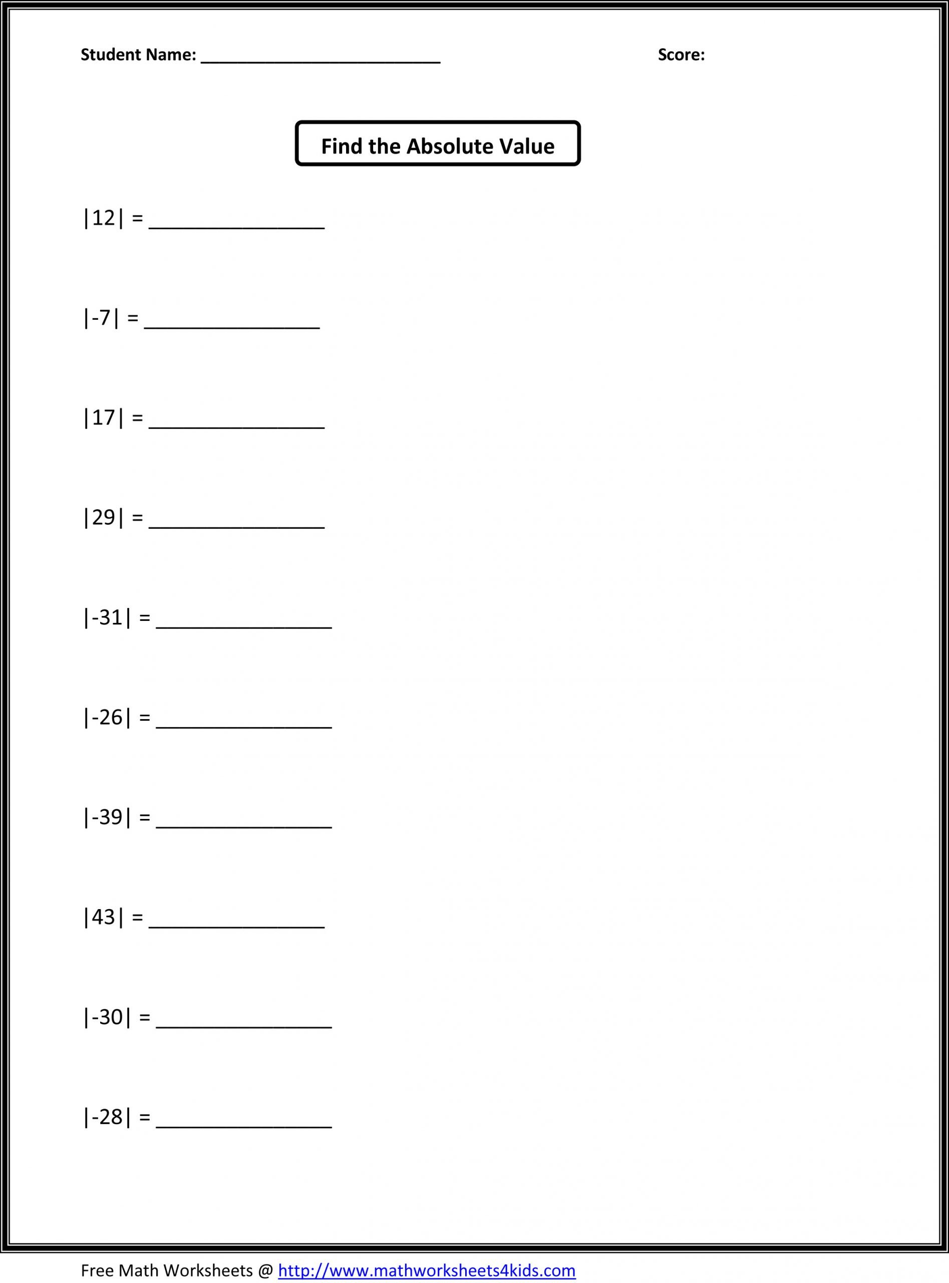 Line Graph Worksheet 5th Grade Absolute Value Math Practice Worksheet