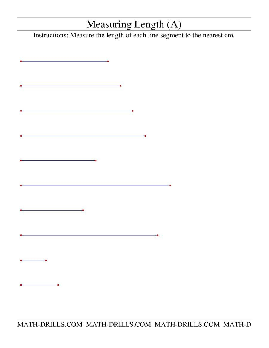 Measuring Length of Line Segments in cm A