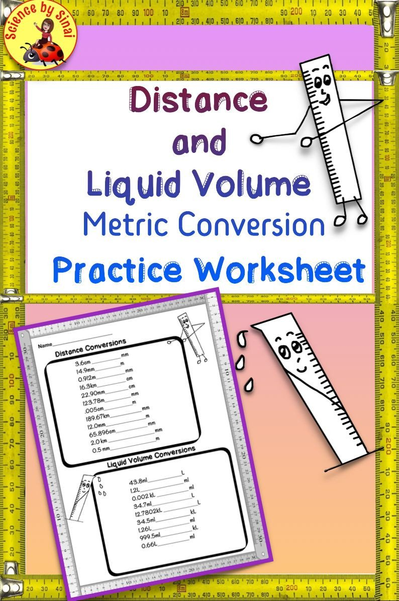 Liquid Volume Worksheets Distance and Liquid Volume Metric Conversions Practice