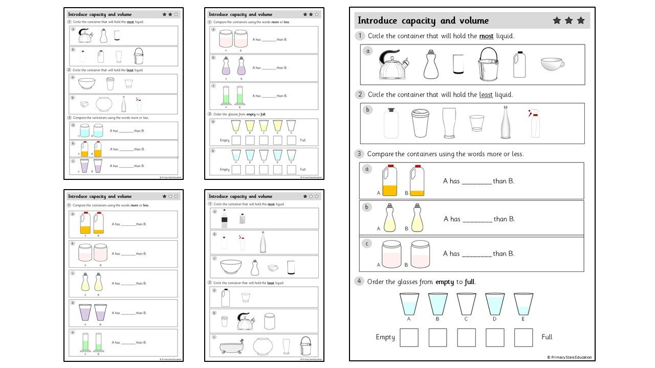 Liquid Volume Worksheets Introduce Capacity and Volume