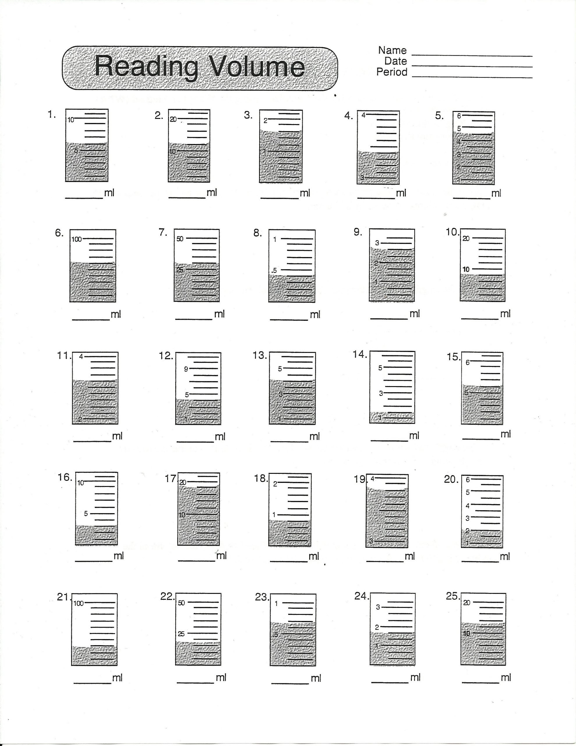 Liquid Volume Worksheets Volume Worksheet Grade 7
