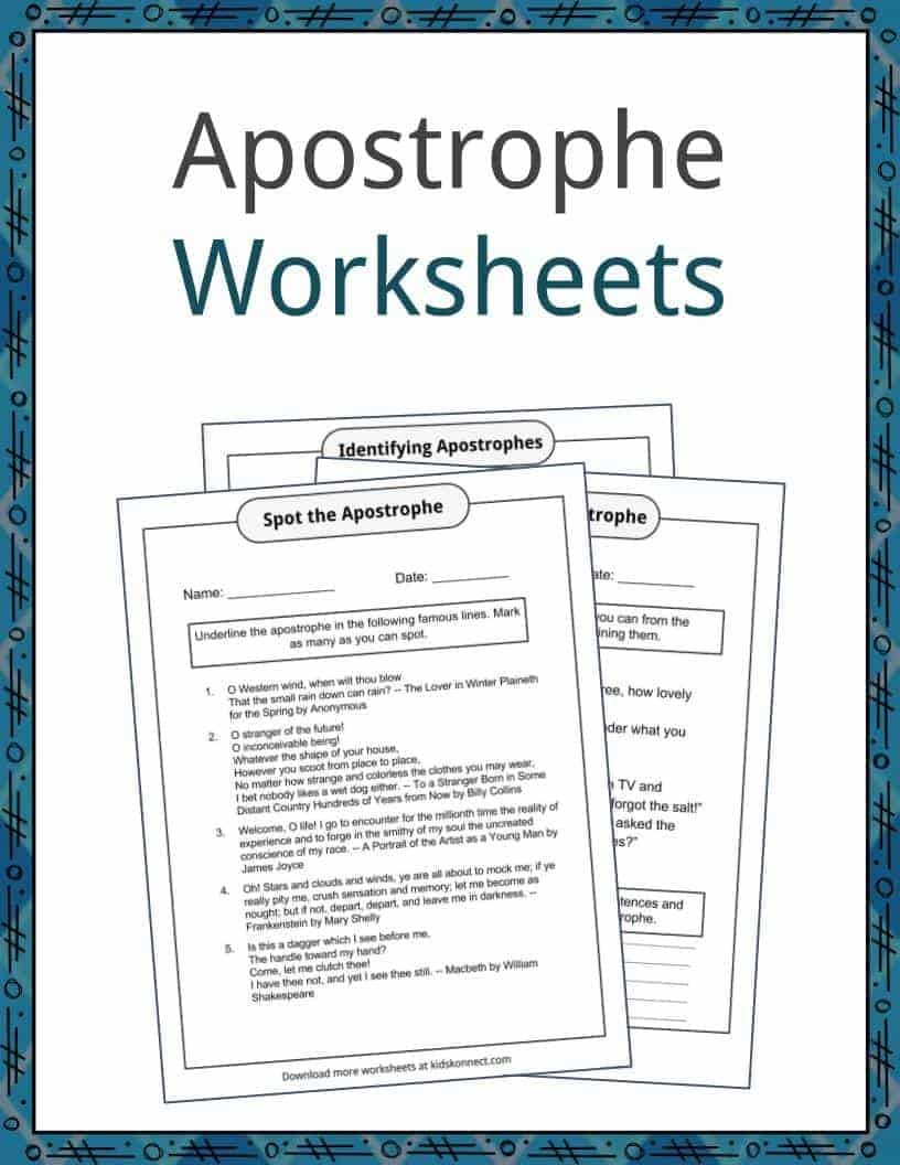 Apostrophe Examples and Worksheets