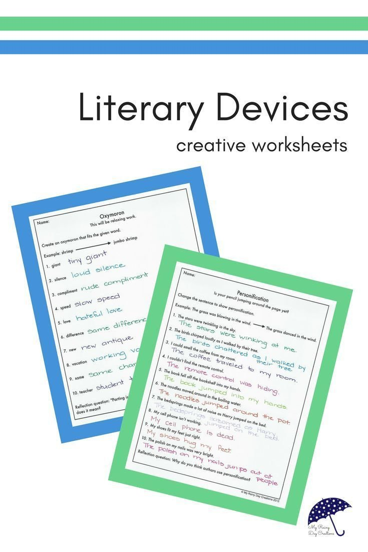 Literary Devices Worksheets Figurative Language Worksheets