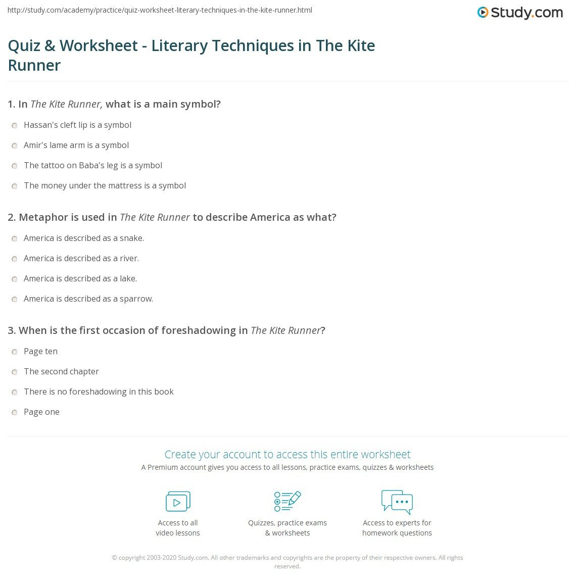 quiz worksheet literary techniques in the kite runner
