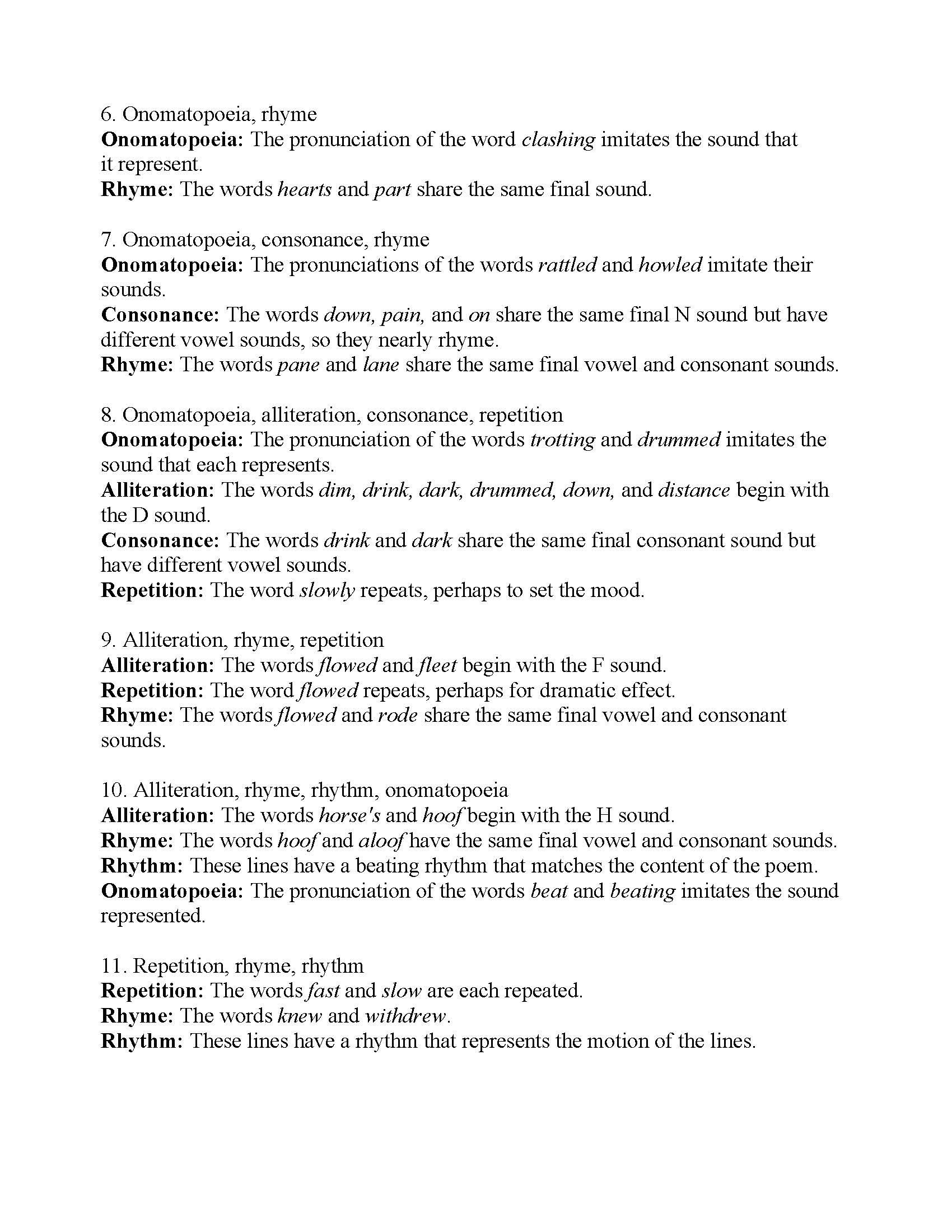 Literary Devices Worksheets Poetic Devices Worksheet 2