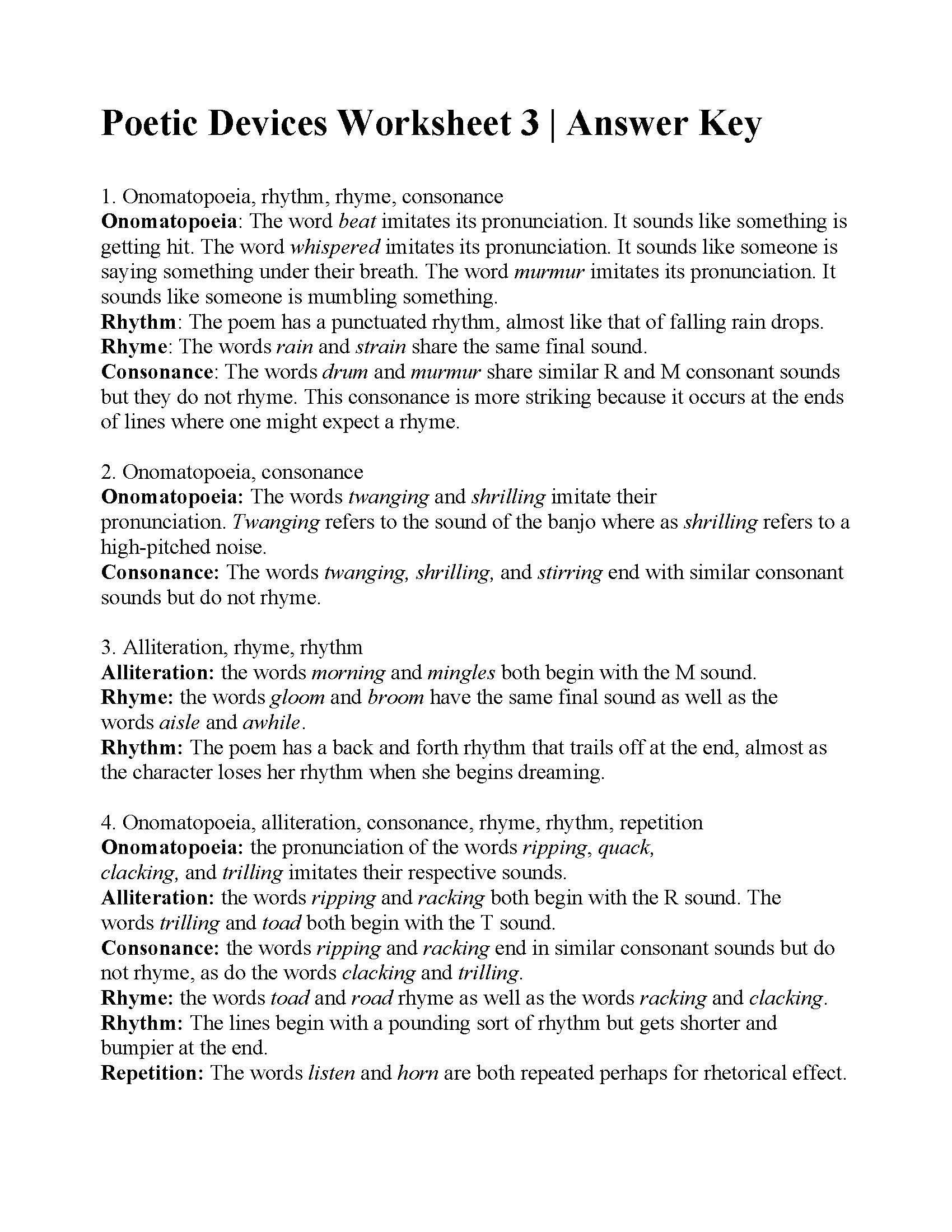 Literary Devices Worksheets Poetic Devices Worksheet 3