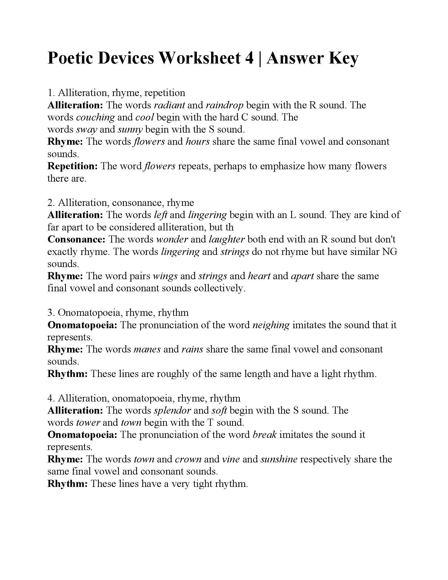 Literary Devices Worksheets Poetic Devices Worksheet 4