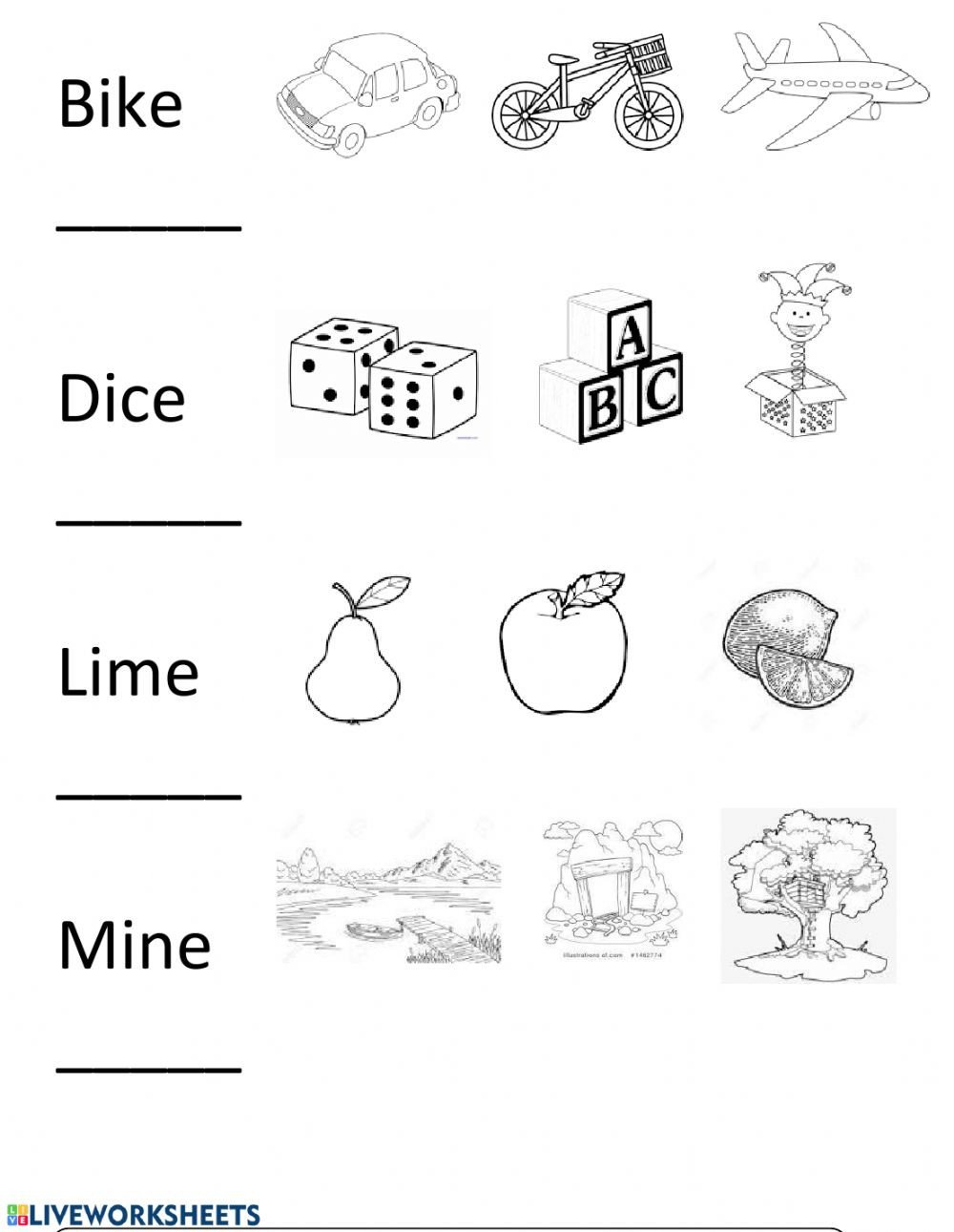 Long Vowel Silent E Worksheet Long I Silent E Interactive Worksheet