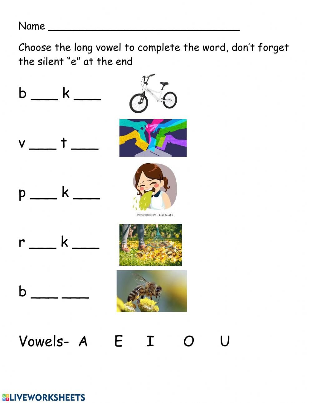 Long Vowel Silent E Worksheet Long Vowel Practice Long Vowels Worksheet