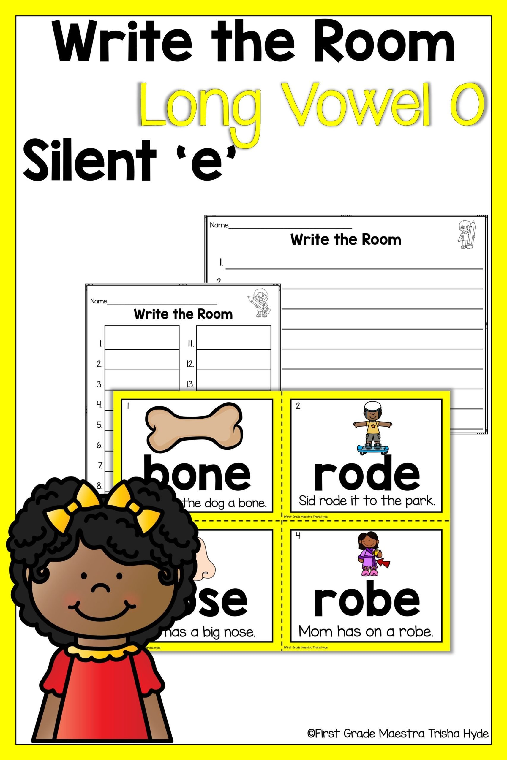Long Vowel Silent E Worksheet Write the Room Vowel Silent with Phonics Worksheets