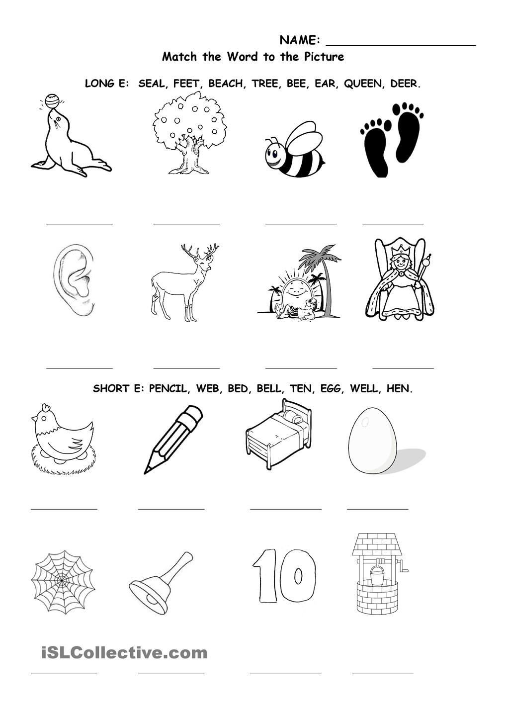 Long Vowel sounds Worksheets Long and Short E