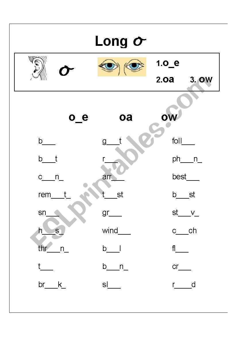 Long Vowel sounds Worksheets Long Vowel sound O Spelling Exercise Esl Worksheet by Ronel