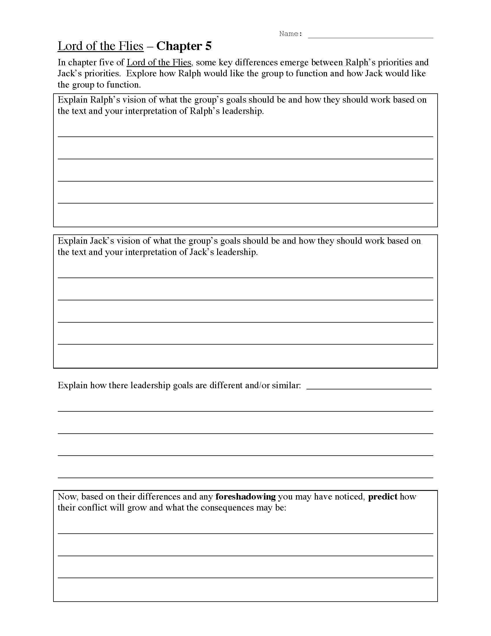 lord of the flies chapter 5 worksheet
