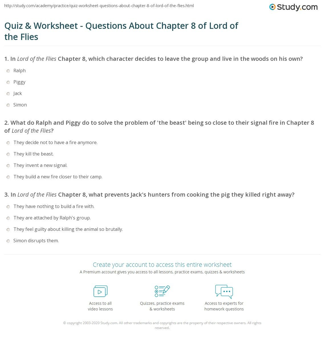 quiz worksheet questions about chapter 8 of lord of the flies