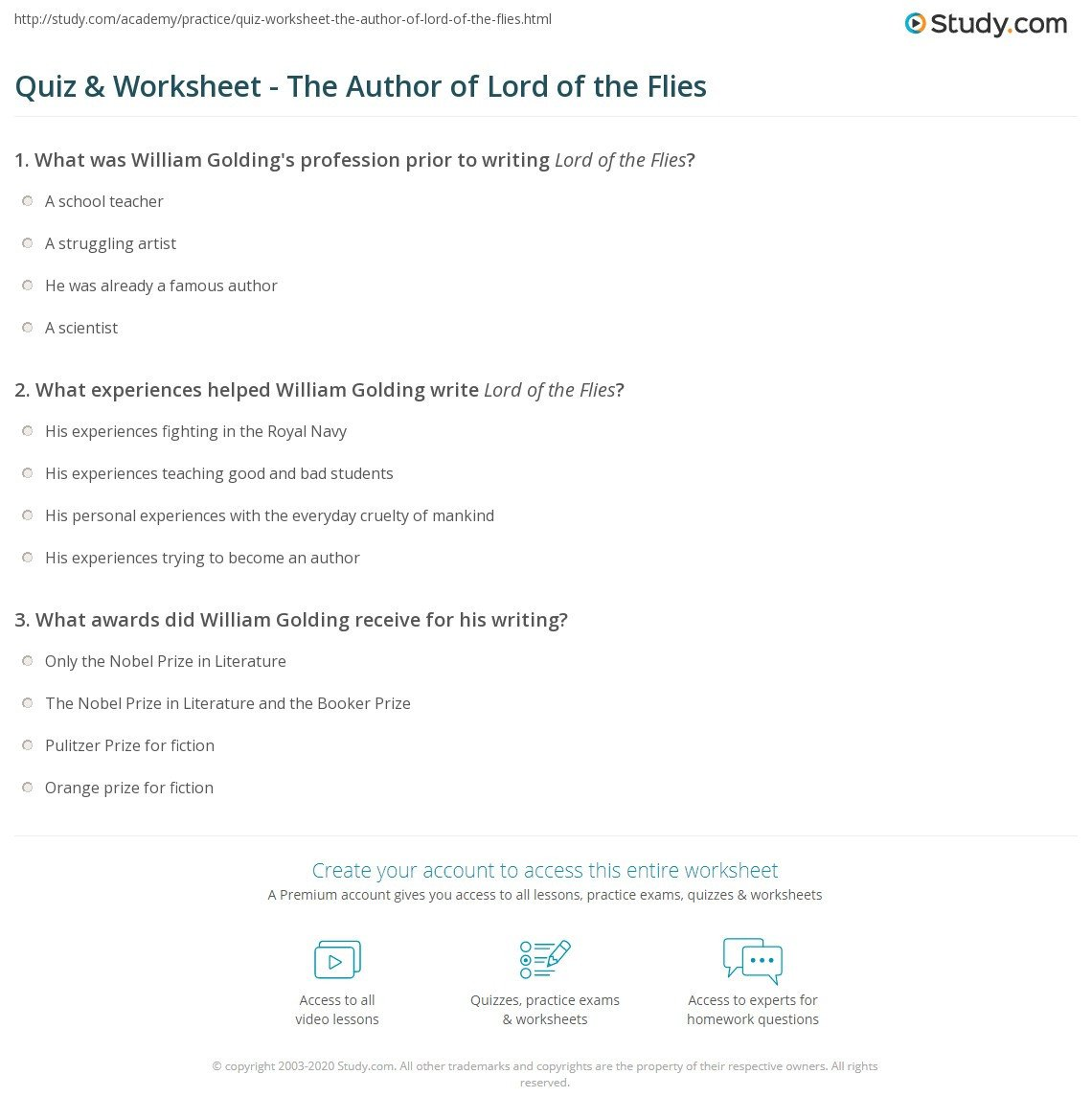 quiz worksheet the author of lord of the flies
