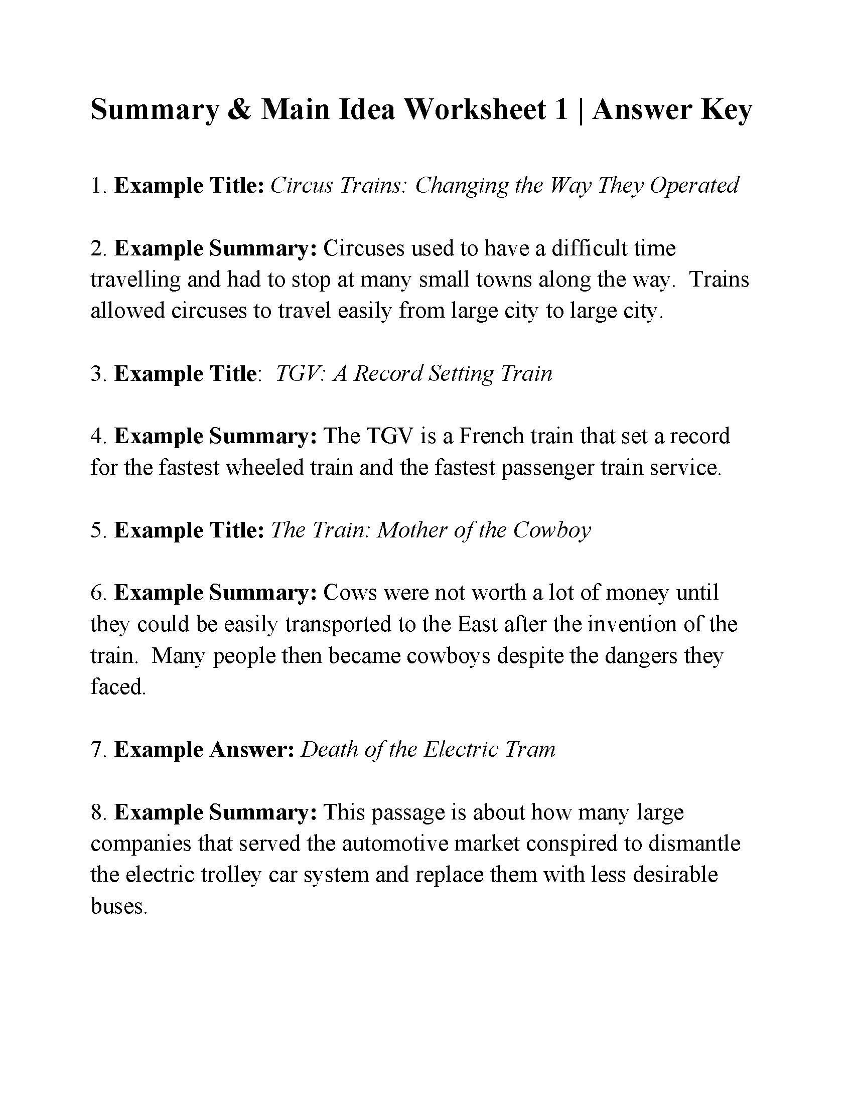 Main Idea and theme Worksheets Worksheets Main Idea Worksheets 4th Grade Pdf Free Main
