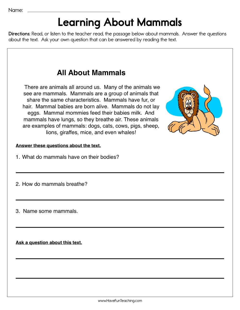 Mammal Worksheets First Grade Learning About Mammals Worksheet